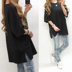 シンプル 無地 BIGシルエット Sideスリット オーバーサイズ Tシャツ ブラック
