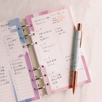 【システム手帳リフィル】ウィークリー / バイブル / 水彩ピンク