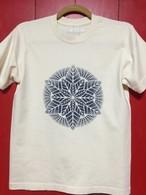 TシャツM 藍錠型染め Geometry Leaf