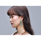tiravisù【 clear flower button _ french beads _ earring 】 vintage / handmade / イヤリング / japan