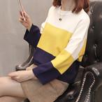 カラーラウンドクルーネックセーター【0018】