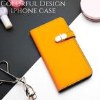 iphoneケース 手帳型 ミラー付き iphonexr iphonexs iphone8 iphone7 スマホケース シンプル かわいい おしゃれ 大人可愛い スタンド レディース オレンジ