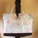 帯の大きめトートバッグ『鳥の子色 <花>』