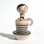 コーヒーカップこけしちゃん 約2.5寸 約7.3cm 長谷川優志 工人(津軽系)#0085