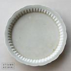 [マルヤマウエア]8寸 しのぎプレート(灰釉)