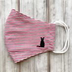 冷感・速乾!夏用マスク*耳元まで覆う安心立体型【おすわり黒猫刺繍ワンポイント】