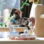 馬型 オルゴナイト オブシディアン&ラブラドライト 置物 財運をもたらす馬モチーフ