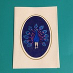 クジャクの刺繍メッセージカード(むらさき)