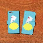 iPhone手帳型ケースamycco.×ことりちゃん 文鳥ちゃん(水色)【各機種対応】