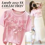 【トップス】フロントおリボン Tシャツ・ピンク
