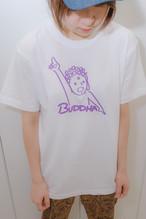天上天下唯我独尊Tシャツ 半袖 ホワイト 線すみれ(サイズM・L ) かわいい ゆったりサイズ 男女兼用 仏像Tシャツ