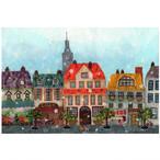 『花が降ったら』 かわいい街並みにどこからか運ばれた花が舞う  楽しいイベントのポストカード