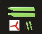 NEWセット★グリーン◆ K110(テールモーター軸径1㎜) 等  メインブレード+3枚羽レッドTブレード+2枚羽グリーンTブレード