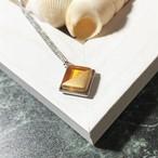 ガラス彫刻ネックレス|オレンジ&ゴールド
