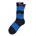 """Mix Border -blue-"" Socks"