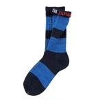 """Mix Border -blue-"" Socks"
