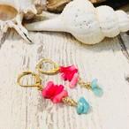 人気デザイン!!染めサンゴの元気カラー!海でもピアス♫スノーボーダーにも人気です!