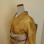 正絹 黄朽葉色の小紋 袷の着物