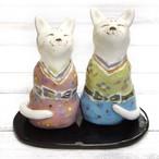 【モリーさん】陶器のねこ雛様/ひな人形