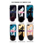 【BASE Mag.掲載】iphone8 ケース カバー  ミンクファー おしゃれ シリコン 猫 メタリック ミラーケース スワロフスキー リボン iPhone7 iPhone7Plus iPhone6s/6 iphone6s/6Plus