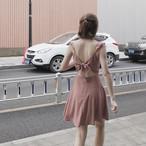 waist ribon fril dress 1857