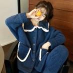 フリル もこもこ ボア 上下 セット ルームウェア レディース 秋 冬 用 長 袖 ズボン 韓国 可愛い パジャマ 暖か い あったか RW-0097