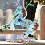馬型 オルゴナイト アパタイト&フローライト 置物 財運をもたらす馬モチーフ