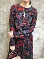 80s black × floral rayon dress ( ヴィンテージ ブラック × 花柄 レーヨン ワンピース