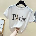 【tops】超売れ筋ラメ入りアルファベット丸ネック肌に優しいTシャツ