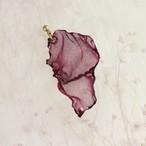 バーガンディ|染めオーガンジーの片耳アートピアス