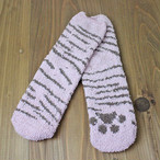 【ルームソックス】ボーダーソックス(ピンク猫)【肉球 猫雑貨 靴下】
