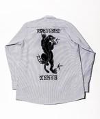 RAKUGAKI Black Panther Stripe Work Shirts White×Charcoal