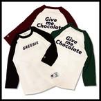 Give me Chocolate raglan sleeves【Black/Red/Green】