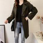 レディース アウター コート トレンチコート カジュアル ロング丈 グリーン ベージュ ブラック ゆったりサイズ