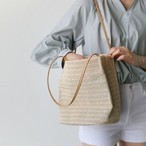 【小物】カジュアル肩掛け無地マグネット草編みバッグ