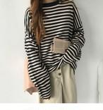 【tops】ストライプ柄ニットセーターTシャツ風ファッション合わせやすい