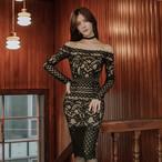 【dress】セクシーワンピースレース生地ボートネックドレス