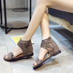 【shoes】レトロ透かし彫り2色気分転換切り替えサンダル