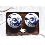 【九谷焼の飯茶碗】染付 金彩 小どんぶり 藍九谷 アンティーク