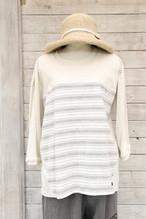 Tシャツ七分袖 TS43 墨染縞柄備後織物×生成