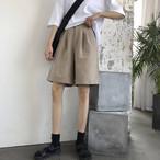 【送料無料】 夏のカジュアルコーデに♡ メンズライク ワイドレッグ チノパン シンプル ハーフパンツ ズボン