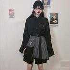 【set】[単品注文]ストリート系POLOネックシャツ+スカートセットアップ23029586