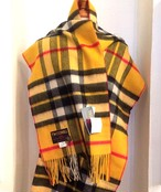【TWEEDMILL】Lambswool Blanket Stole with Pin(Knee Rug) Tartan Yellow Dress Thompson