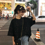 【送料無料】 コーデが映える♡ ラウンドネック ラメ Tシャツ プルオーバー オーバーサイズ