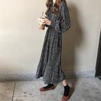 2色 花柄 リボン ワンピース ミモレ丈 ブラック ベージュ フェミニン デート 大人可愛い レディース ファッション 韓国 オルチャン