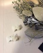 再販ベビー ふわふわオーガンジーのリボンクリップ ホワイト 浴衣 ハーフバースデ