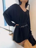 BVベルトニットチュニック ニット ワンピース 韓国ファッション