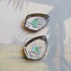1970's ドイツ クリアのガラス、鳥のインタリオチャーム(シルバー・1コ)