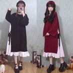 【dress】かわいい大きなサイズ柔らかい偽の2ピースワンピース15745434