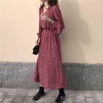 【dress】花柄ワンピースVネックウェストストレッチ入りロングワンピース